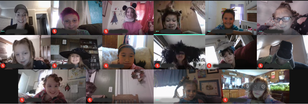 students on zoom doing crazy hair and hat day virtually