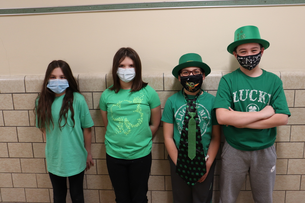 Elementary students dressed for St. Patrick's