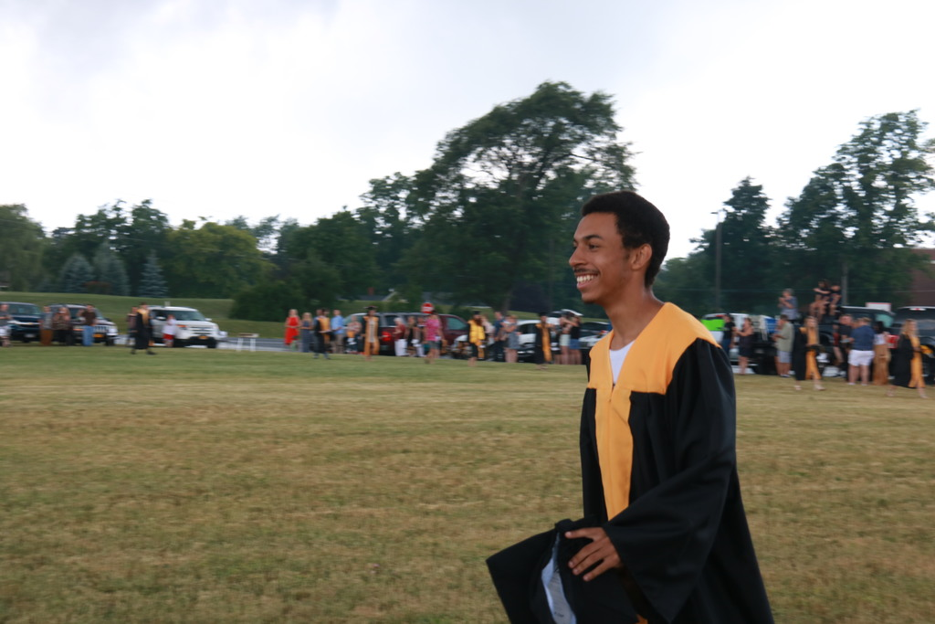 student walking in processional